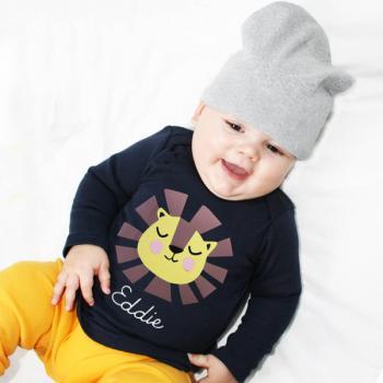 Personalisiertes Langarmshirt Löwe für Kinder und Babys mit Namen