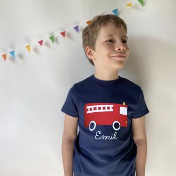Personalisiertes T-Shirt mit Namen Feuerwehr für Kinder und Babys