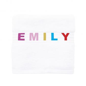 Handtuch für Kinder in weiß mit buntem Namen