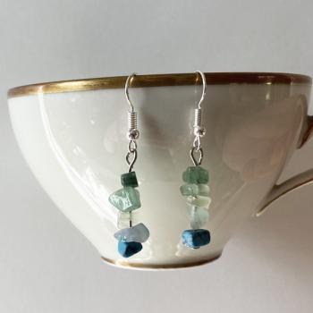 Kristall Perlen Ohrringe türkis blau