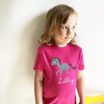 Kinder und Baby T-Shirt Pferd mit Namen