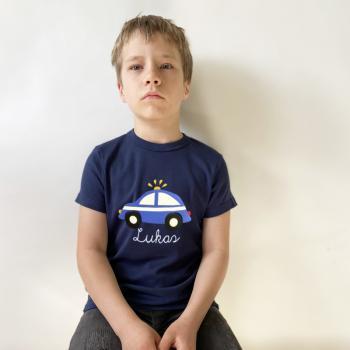 Kinder und Baby T-Shirt Polizeiauto mit Namen
