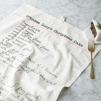 Personalisiertes Geschirrtuch mit Rezept in Schreibschrift