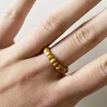 Ring mit honigfarbenen Boho Perlen