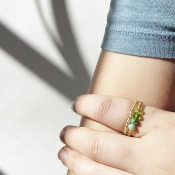 Perlen Ring Set türkis grün (2 Ringe)