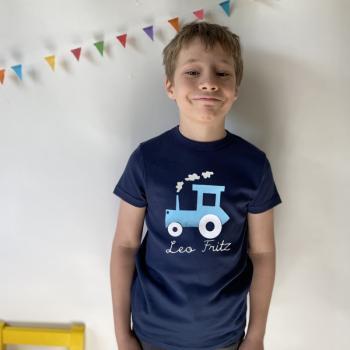 T-Shirt Traktor mit Namen für Kinder und Babys