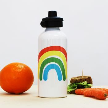 Personalisierte Regenbogen Trinkflasche mit Namen für Kinder