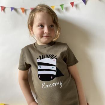 Personalisiertes Zebra T-Shirt mit Namen für Kinder und Babys